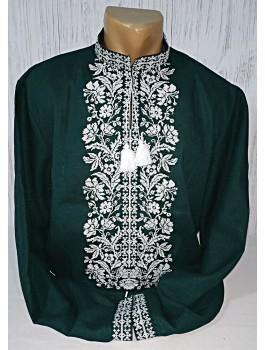 Вишиванка чоловіча зелена, машинна вишивка, хрестиком. Домоткане полотно або льон