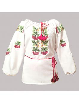 Вишиванка жіноча біла, машинна вишивка, хрестиком. Домоткане полотно або габардин