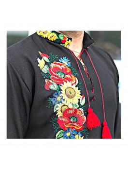 Вишиванка чоловіча чорна, машинна вишивка, хрестиком. Льон, габардин або домоткане полотно