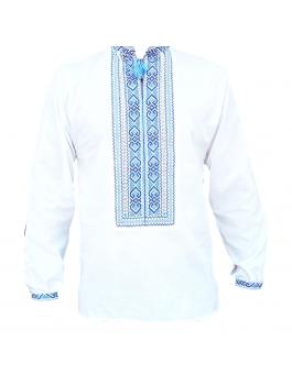 Вышиванка мужская ручной работы, крестиком, с кружевами. Домотканое полотно, лен-джинс или лен