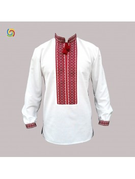 Вышиванка мужская, машинная тканая вышивка. Домотканое полотно или лён