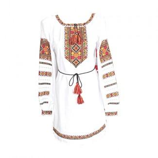 Платье вышитое, машинная вышивка крестиком. Домотканое полотно