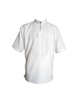 Вышиванка мужская ручной работы, белым по белому. Домотканое полотно