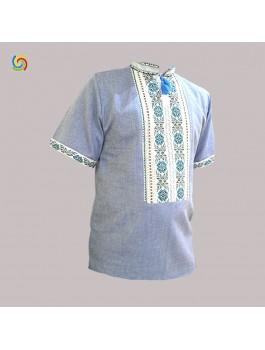 Вишиванка чоловіча синя, машинна вишивка, хрестиком + мереживо. Домоткане полотно або льон-джинс