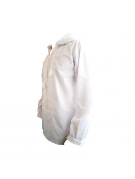 Вышиванка мужская ручной работы с капюшоном, белым по белому. Домотканое полотно, лен или поплин