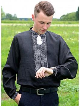 Вишиванка чоловіча чорна, машинна вишивка. Домоткане полотно або льон