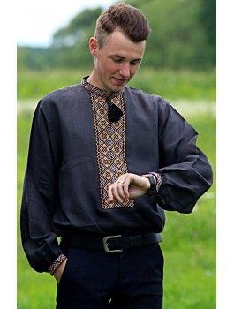 Вишиванка чоловіча чорна, машинна вишивка, гладдю. Домоткане полотно або льон