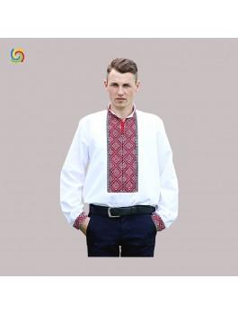 Вишиванка чоловіча біла, машинна вишивка, хрестиком. Домоткане полотно, поплін або льон