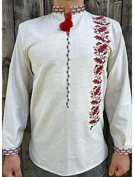 Вишиванка чоловіча сіра, машинна вишивка, хрестиком. Льон або домоткане полотно