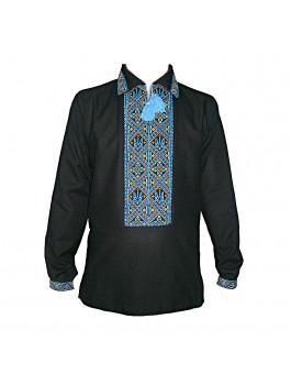 Вышиванка мужская черная, ручной работы, крестиком с тризубом. Домотканое полотно или лён