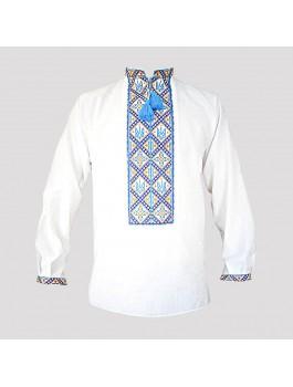 Вишиванка чоловіча з тризубом машинна вишивка, хрестиком. Домоткане полотно або льон