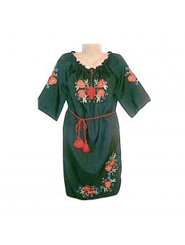 Женское платье черное, машинная вышивка, гладь. Габардин, домотканое полотно или лен