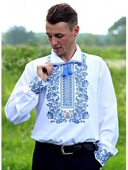 Вишиванка чоловіча біла, машинна вишивка, хрестиком. Домоткане полотно, льон або габардин