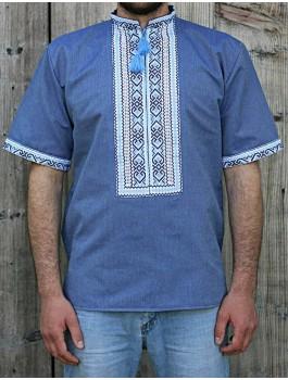 Вишиванка чоловіча, машинна вишивка, хрестиком + мережки. Домоткане полотно або льон