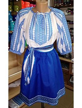Вишитий жіночий костюм, вишивка - машинна ткана. Габардин або поплін