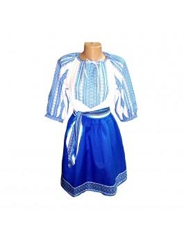 Вышитый женский костюм, вышивка - машинная тканая. Габардин, поплин