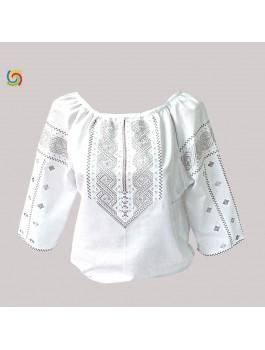 Вишиванка жіноча біла, машинна вишивка, хрестиком і гладдю. Домоткане полотно або льон
