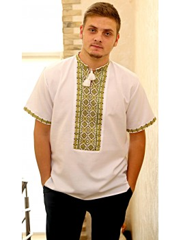 Вишиванка чоловіча біла, машинна вишивка, хрестиком. Домоткане полотно або льон