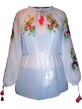 Вишиванка жіноча біла, машинна вишивка. Шифон або габардин