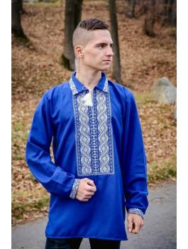Вишиванка чоловіча синя, машинна вишивка, гладдю. Домоткане полотно