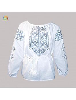 Вишиванка жіноча біла з тризубом, машинна вишивка, хрестиком. Домоткане полотно або льон