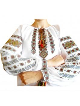 Вышиванка женская чёрная, машинная вышивка крестиком. Домотканое полотно, габардин или лён