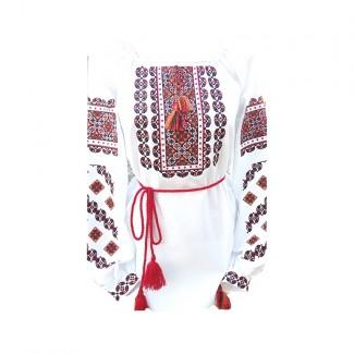 Вышиванка женская, машинная вышивка крестиком. Домотканое полотно