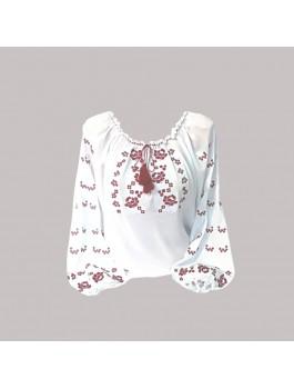 Вышиванка женская, машинная вышивка крестиком. Шифон или габардин