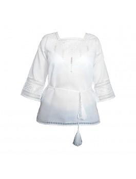 Вышиванка женская, ручной работы, белым по белому. Домотканое полотно с лавсаном.