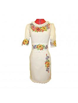 Платье вышитое женское, машинная гладь. Габардино-лен или габардин с шифоном