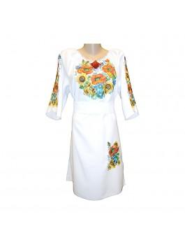 Платье вышитое женское, машинная крестиком. Лен или габардин