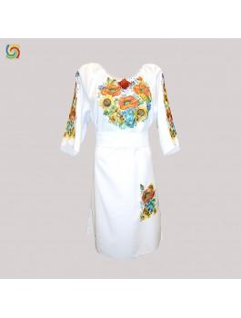 Платье вышитое женское, машинная гладь. Лен или габардин