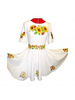 Платье вышитое женское, машинная крестиком. Габардин