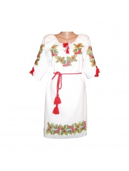 Платье вышитое женское, машинная крестиком. Лён, габардин или домотканое полотно