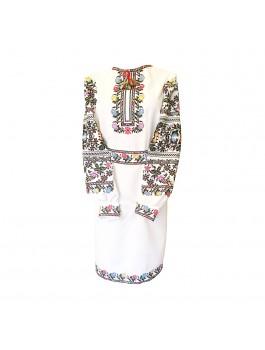 Платье вышитое женское, машинная крестиком. Габардин или домотканое полотно