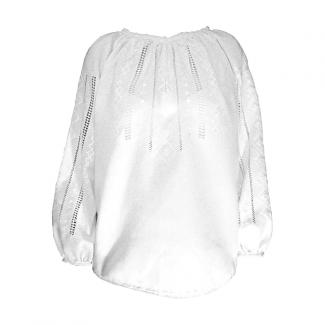 Вышиванка женская, ручной работы, белым по белому. Домотканое полотно или домотканое полотно с лавсаном