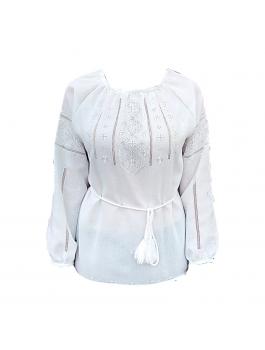 Вышиванка женская, ручной работы, белым по белому. Домотканое полотно