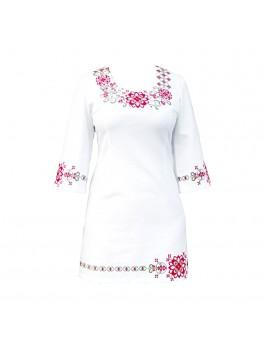 Платье вышитое женское, ручной работы, крестиком. Домотканое полотно