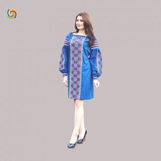 Вышитое платье, машинная вышивка крестиком. Габардин, лён или домотканое полотно