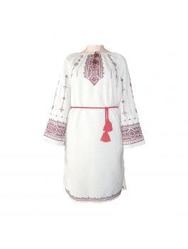 Платье вышитое женское, ручной работы, крестиком. Лён или домотканое полотно